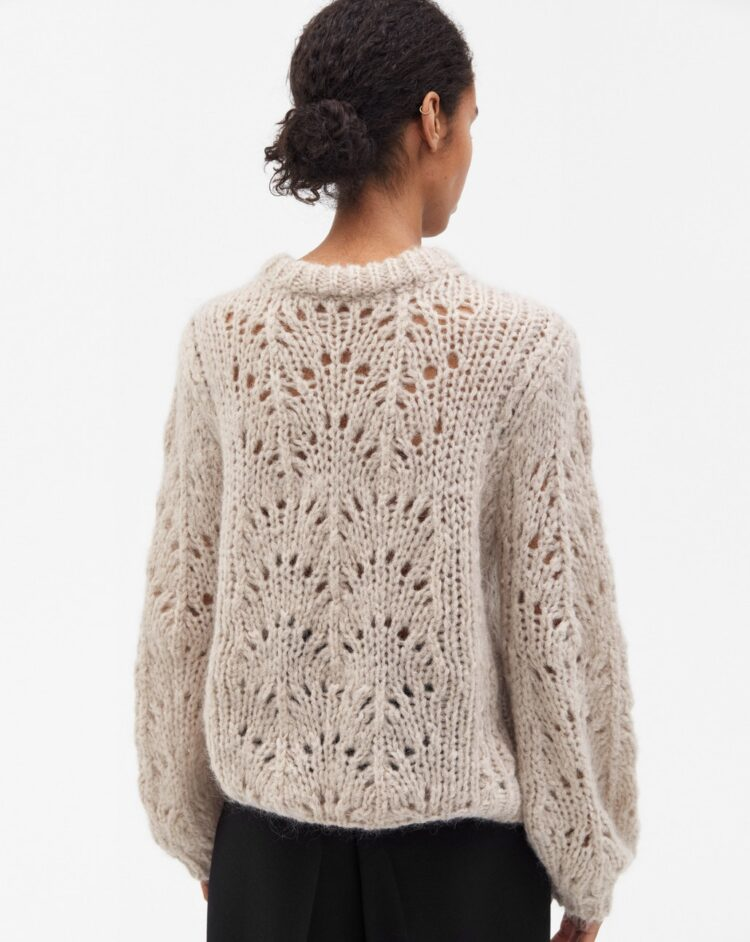 Mequieres - Pointelle R Neck Sweater Porcelain